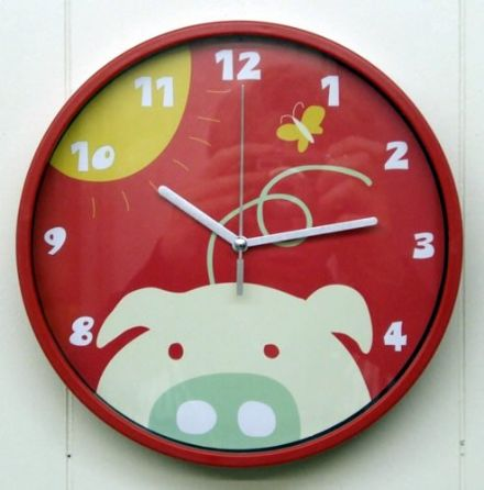 Childrens Bedroom Pig Wall Clock